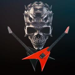 Heavy Metal - Demon skull, black and red crossed guitars
