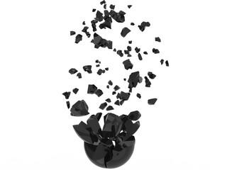 Black sphere broken into many pieces