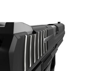 Semi automatic modern handgun - extreme closeup shot - left side