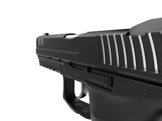 Semi automatic modern handgun - extreme closeup shot - right side