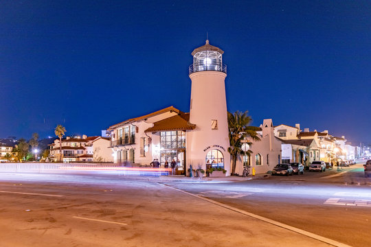 nightview of rebuilt lighthouse in Santa Barbara serves as Restaurant and bar.