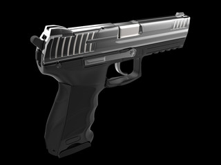 Modern black metal hand gun