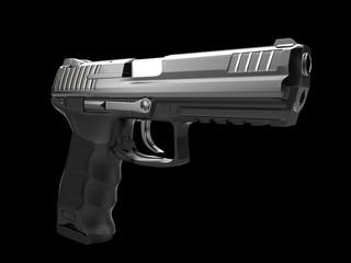 Modern black metal hand gun - safety on