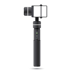 Vector template of handheld stabilizer for action camera. Vector illustration with realistic selfie stick for action extreme camera.