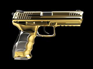 Golden modern semi automatic pistol