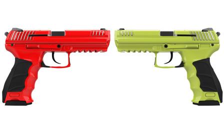 Red and green modern semi automatic handguns
