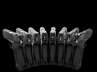 Semi automatic pistols pointing at all directions - rear view