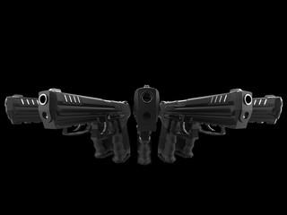 Modern black semi automatic pistols - side angle shot