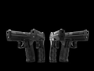 Modern black semi automatic pistols