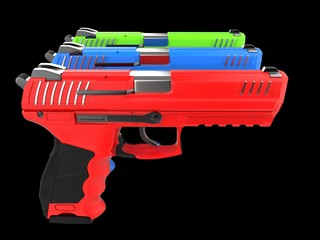 Red, green and blue modern handguns - all pointing at the same direction