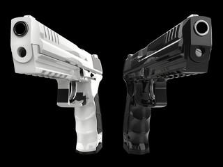 Black and white shiny new semi automatic pistols