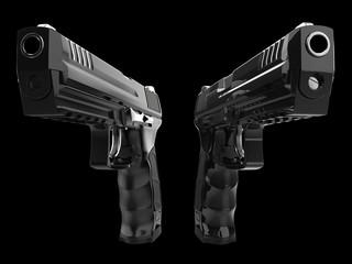 Two mean modern semi automatic pistols