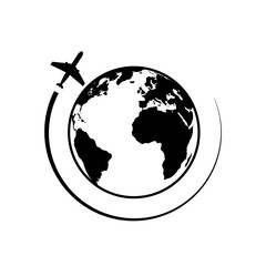 Earth and plane. Travel around the world picture. Globe and plane icon. Air travel line icon. Plane, journey, transportation. Airline concept. Vector illustration
