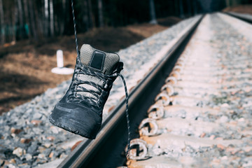 Railway. The shoe hangs on a cord. have toning. shallow depth of cut