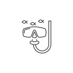 Snorkeling Related Vector Line Icon.
