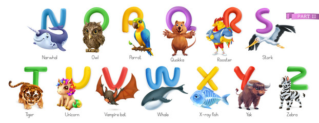 Zoo alphabet. Funny animals, 3d vector icons set. Letters N - Z Part 2. Narwhal, owl, parrot, quokka, rooster, stork, tiger, unicorn, vampire bat, whale, x-ray fish, yak, zebra