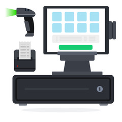 POS system flat icon vector isolated