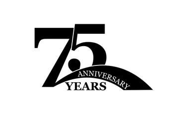 75 years anniversary, flat simple design