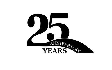 25 years anniversary, flat simple design,