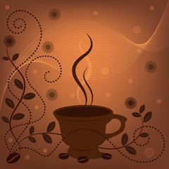 Vector abstract brown background with cup of coffee and coffee beans 2
