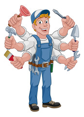 Handyman cartoon property caretaker construction man multitasking with lots of arms holding tools