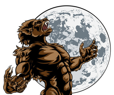 Scary werewolf wolf man horror monster howling at the full moon
