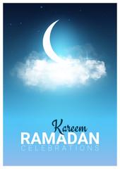 Muslim feast of the holy month of Ramadan Kareem. Vector illustration.