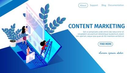 People Team Work on Huge Laptop, Content Marketing