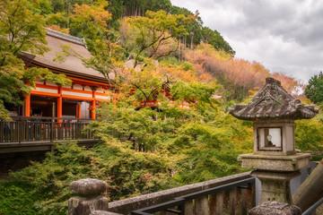 Autumn park view from a terrace at Kiyomizu-dera Buddhist temple, Kyoto, Japan.