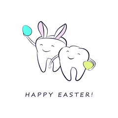 Smiling cartoon teeth with colorful Easter eggs and in a costume with bunny ears. Vector easter illustration for dentistry.