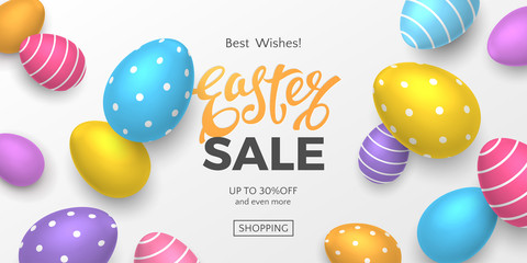 Vector horizontal Easter sale banner with text and 3D realistic colorful eggs on white background. Festive template for promotional newsletters and flyers with discount or special offers.