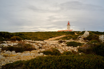 The amazing Lighthouse in Espichel cape, close to Lisbon, Portugal.
