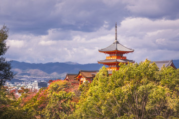View of Kyoto and Kiyomizu-dera temple iconic buildings in autumn in Japan