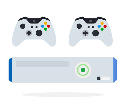 Game console with controllers vector icon flat isolated