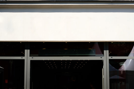 shop entrance, store front facade billboard mockup -