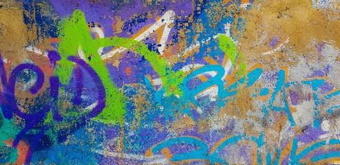 In de dag Graffiti Fragment of graffiti drawings. Multicolored background texture