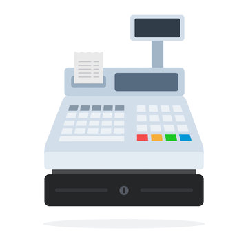 Cash register with a paper check flat isolated