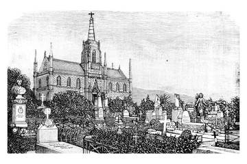 View of the graves in the cemetery - Vintage Engraved Illustration, 1894