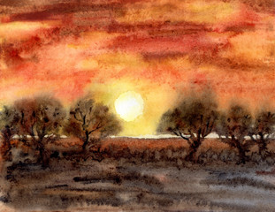 Landscape with trees at sunset. Orange sky and setting sun, savannah nature, illustration, painting, poster.