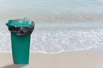 Green trash Isolated from the sea background