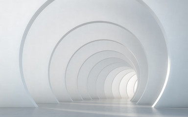 Abstract illuminated empty white corridor interior design. 3D rendering. Fototapete