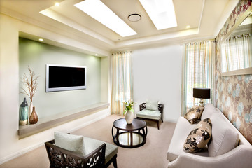 Living room interior design of a modern house with perfect lighting for luxury life