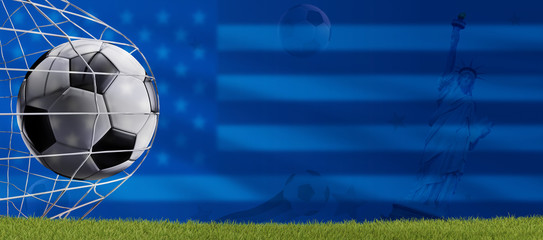 soccer goal a soccer ball in net with a blurred flag of America 3d-illustration