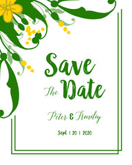 Wall Murals Retro sign Vector illustration green leafy floral frame with text save the date