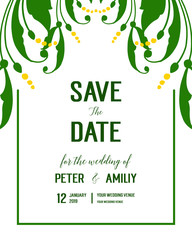 Wall Murals Retro sign Vector illustration elegant leaf wreath frame with invitation save the date