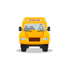 Yellow school bus  with driver, front view. Back to school design. Vector illustration isolated on a white background.