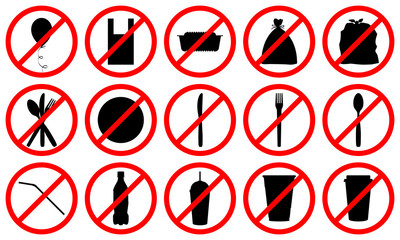 stop using disposable plastic pack, bag, box, bottle, straw signs, say no to plastic in everyday life and zero waste concept, stock vector illustration clip art