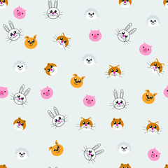 Seamless pattern of funny toy animals ' heads, bear, dog, hedgehog, pig, hare, cat for printing, baby fabrics, covers