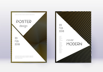 Stylish cover design template set. Gold abstract l