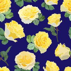 seamless pattern of yellow rose buds on dark blue background